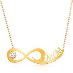 585 arany nyaklánc - finom lánc, végtelen szimbólum, átlátszó cirkónia és MOM felirat
