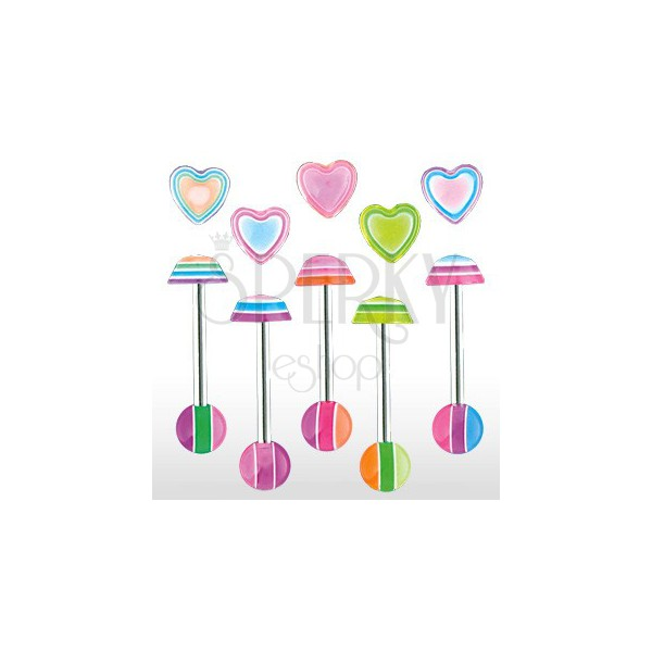 Nyelv piercing - Multicolor heart