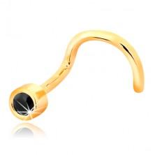 Orrpiercing sárga 14K aranyból - hajlított alak, fekete zafír foglalatban