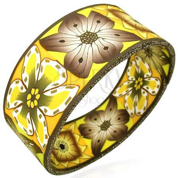 Széles Fimo karkötő őszi virág mintával
