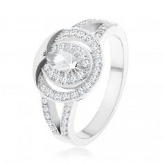 925 ezüst gyűrű, átlátszó cirkóniás karika szem alakú cirkóniával középen