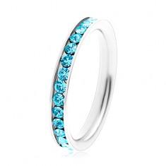 Gyűrű sebészeti acélból - kerek cirkóniák akvamarin színben