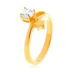 Acél gyűrű arany színben, csillag és kerek átlátszó cirkónia