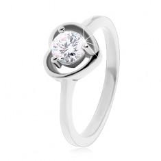 Gyűrű 316L acélból ezüst színben, szív körvonal, átlátszó cirkónia