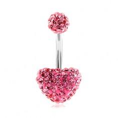 Acél köldökpiercing, golyó és szín, rózsaszín csillogó cirkóniák