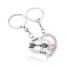 Acél kulcstartó párnak, ezüst szín, szív két fele, nyíl, felirat