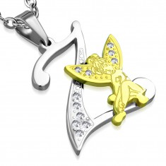 Acél medál, Z betű átlátszó cirkóniákkal díszítve, arany színű tündér
