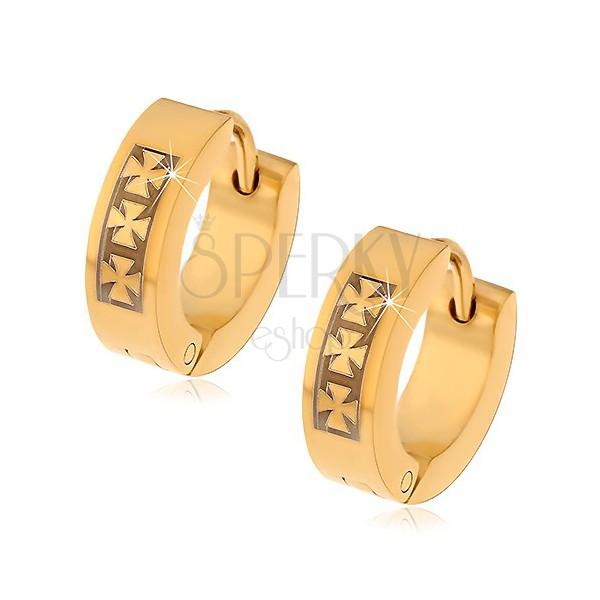 Acél fülbevaló arany színben három máltai kereszt mintájával