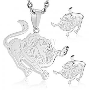 316L acél szett ezüst színben, fülbevaló és medál, OROSZLÁN állatövi jegy