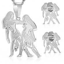 Sebészeti acél szett ezüst árnyalatban, medál és fülbevaló, IKREK állatövi jegy