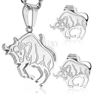 Acél szett ezüst színben - medál és stekkeres fülbevaló, BIKA állatövi jegy