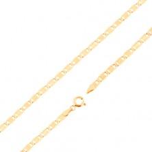 Nyaklánc 14K sárga aranyból - nagyobb lapos elemek, bevágások, téglalap, 450 mm