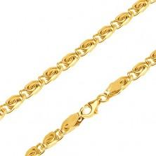 """14K sárga arany nyaklánc - kisebb részek """"S"""" minta, 600 mm"""