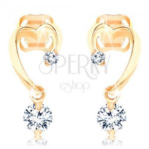 Gyémánt 585 arany fülbevaló - nem teljes szív körvonal, két csillogó briliáns