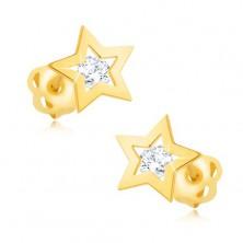 Briliáns fülbevaló sárga 14K aranyból - csillag körvonal, átlátszó gyémánt