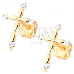 585 arany gyémánt fülbevaló - latin kereszt, átlátszó briliánsok