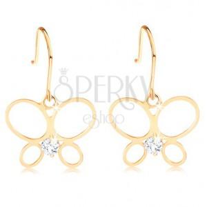 Fülbevaló sárga 14K aranyból - vékony lepke körvonal, kerek átlátszó gyémánt