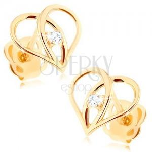 Gyémánt fülbevaló 585 aranyból - szív körvonal briliánssal