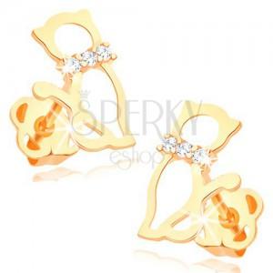 Fülbevaló sárga 14K aranyból - macska körvonala gyémánt nyakörvvel