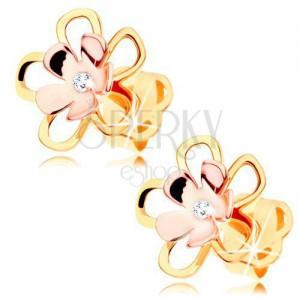Fülbevaló 14K aranyból - fényes kétszínű virág átlátszó gyémánttal középen