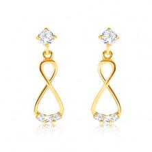 Briliáns 585 arany fülbevaló - függő nyolcas, átlátszó gyémántok