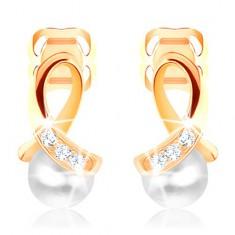 Fülbevaló sárga 14K aranyból - fényes hurok gyémántokkal díszítve, kerek gyöngy