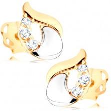 Gyémánt fülbevaló - fényes könnycsepp 14K fehér és sárga aranyból, három átlátszó briliáns
