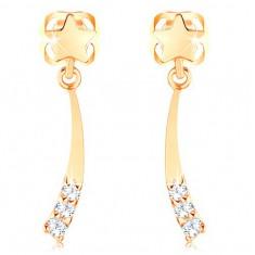585 arany fülbevaló - fényes üstökös átlátszó gyémántokkal díszítve