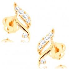 Fülbevaló sárga 14K aranyból - csillogó levél átlátszó briliánsokkal