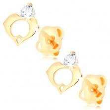 Fülbevaló sárga 14K aranyból - átlátszó gyémánt, szív körvonala két delfinből