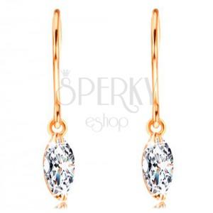 Fülbevaló sárga 14K aranyból - csillogó, szem alakú gyémánt átlátszó színben