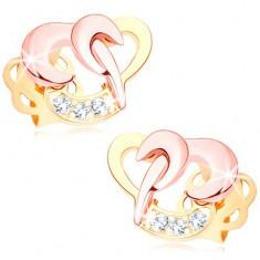 585 arany briliáns fülbevaló - szívek összekapcsolt körvonalai, átlátszó gyémántok