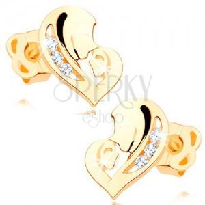 Gyémánt fülbevaló sárga 14K aranyból - szív két arcból, átlátszó briliánsok
