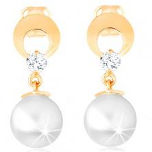 585 arany fülbevaló - karika kivágással és átlátszó gyémánttal, függő fehér gyöngy