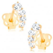 Briliáns 585 arany fülbevaló - csillogó ív átlátszó gyémántokból