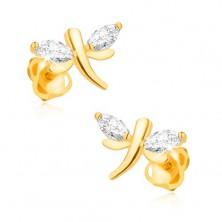 Fülbevaló sárga 14K aranyból - csillogó szitakötő, szem alakú gyémántok a szárnyakon