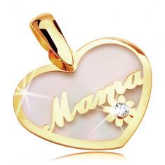 Medál sárga 14K aranyból - gyöngyházas szív Mama felirattal és virággal
