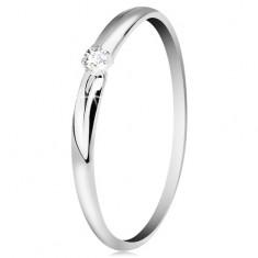 Briliáns gyűrű fehér 14K aranyból - vékony bemetszések a szárakon, átlátszó gyémánt