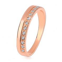 925 ezüst gyűrű réz színben, átlátszó cirkóniás vonal, magas fényesség