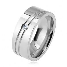 Sebészeti acél gyűrű, két ferde bemetszés, átlátszó cirkónia, fényes felület