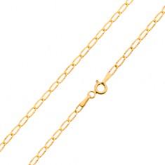 Arany nyaklánc - vékony lapos szemek, csillogó sugaras bevágások, 550 mm