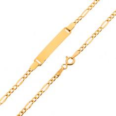 Arany karkötő lemezzel - lapított hosszúkás és három apró szem, 200 mm