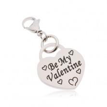 Kulcstartó, sebészeti acél, szív Be My Valentine felirattal