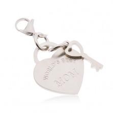 Acél kulcstartó, szív kulccsal és WORLD´S BEST MOM felirattal