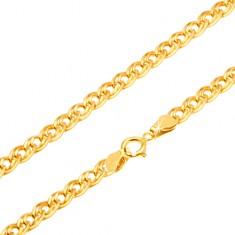 Arany nyaklánc 585 - csillogó nagyobb és kisebb ellipszis szemek, 500 mm