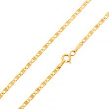 Nyaklánc sárga 14K aranyból, csillogó ovális szemek ráccsal, 500 mm