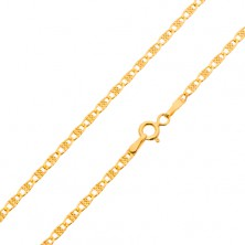 14K arany nyaklánc, ovális szemek rácsos téglalappal, 450 mm