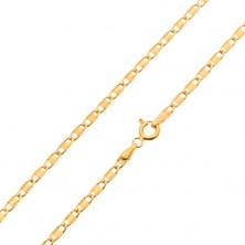 Lánc sárga 14K aranyból, fényes ovális szemek sima téglalappal, 450 mm