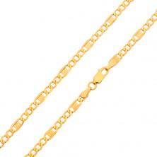 Arany nyaklánc - három ovális szem, részek görög kulccsal, 550 mm
