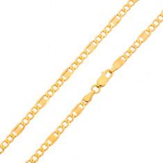 Arany nyaklánc - három ovális szem, részek görög kulccsal, 500 mm